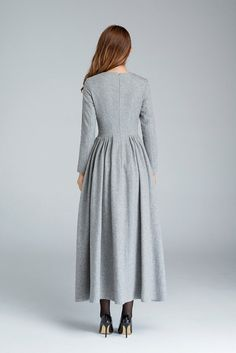 Details: * Made from grey wool * Round neckline * back zip closure *pleated details *party dress, evening dress SIZE GUIDE Available in women's US sizes 2 to 18, as well as custom size and plus size. Size chart PDF