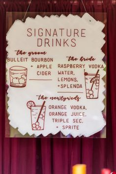 Wine Hued Maryland Farm Wedding - signature drink sign, wedding acrylic bar sign, handmade wedding signs, signature cocktails weding Wedding Signature Drinks, Signature Cocktail, Drink Signs, Bar Signs, Farm Wedding, Wedding Signs, Bulleit Bourbon, Orange Vodka, Raspberry Vodka