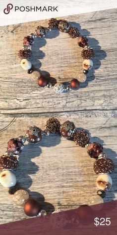 """Cocoa Mocha 8"""" Bracelet This beautiful bracelet has just the right amount of sparkle to set off the warm brown Hughes. This Bracelet is called """"Cocoa Mocha"""". Handmade With Love by F & J creations. Xoxoxo F & J Creations Jewelry Bracelets"""