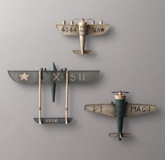Vintage Model Airplane for Baby Boy's Airplane Nursery Room