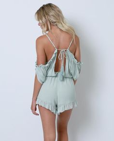 +Non-stretchy crinkle gauze romper features cold-shoulder sleeves with ruffle detail