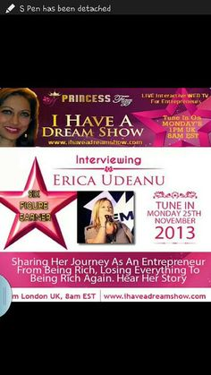 Can't wait for this one. Tune in Monday 1pm UK, 8am EST at http://ihaveadreamshow.com interviewing Erica Udeanu LIVE http://titan.myempowernetwork.com