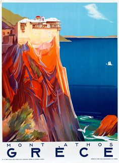 TRAVEL'IN GREECE I G.N.T.O. vintage poster - #Mont_Athos, #Grèce