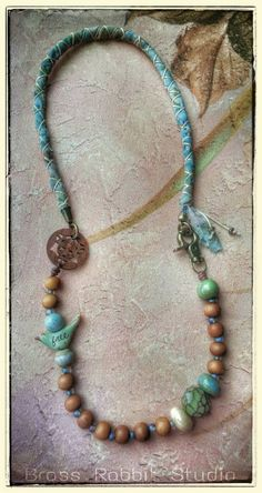 Earthy Rustic Bohemian necklace ceramic Free by BrassRabbitStudio