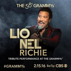 Don't miss a special tribute performance in honor of 2016 MusiCares Person Of The Year Lionel Richie at the 58th ‪#‎GRAMMYs‬ on CBS Monday, Feb. 15!
