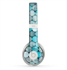 The Vintage Scratched Blue & Graytone Polka Skin for the Beats by Dre Solo 2 Headphones
