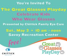 Save the Date: Great Glasses Play Day Presented by Chittick Family Eye Care
