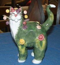 Amy Lacombe • Fancy Feline ROSETTE • CAT Kitty FIGURINE • Whimsiclay