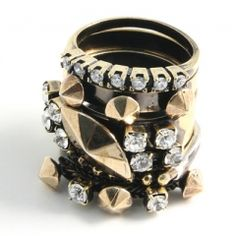 IOSSELLIANI/ BRASS BRONZE SWAROVSKI STACKING RINGS