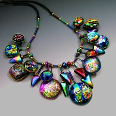 I adore Dichroic glass! Statement Necklace by Holly Sokol on etsy. www.HollySokol.com