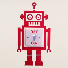 robot light switch vinyl wall sticker by oakdene designs | notonthehighstreet.com