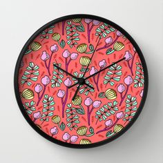 Floral on Coral Wall Clock by Kristin Nohe - $30.00