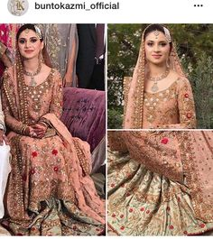 Pistachi green bridal gharara By Bunto Kazmi Couture, Pakistan