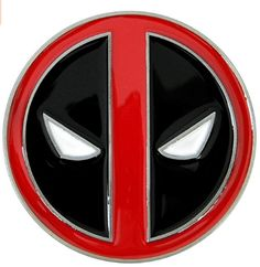 Deadpool Belt Buckle, Die Cast Chrome Finish Enamel Fill: - Solid die cast metal belt buckle with full color enamel fill- Raised design, chrome finish- Solid color red, black and white- Buckle measures diameter- Fits belts measuring up to wide/p Deadpool Love, Deadpool Costume, Aquaman Logo, Cool Belt Buckles, Gadgets, Round Logo, Branded Belts, Volkswagen Logo, Draw