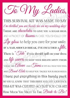 Adorable bridesmaid survival kit card!! by Nikon