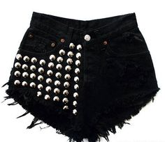 Runwaydreamz is the best fashion source for vintage, high waisted shorts and high waisted jeans. Shop the perfect denim jacket and denim skirt with us. Studded Shorts, Ripped Jean Shorts, Denim Cutoff Shorts, Distressed Denim Shorts, Black Denim Shorts, Silver Shorts, Black Jeans, Shorts Jeans Preto, Fashion Clothes