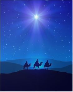 Christmas star on blue sky and three wise men. Christian Christmas night with sh , Christmas Nativity Scene, Christmas Night, Christmas Mantels, Christmas Scenes, Blue Christmas, Christmas Wreaths, Christmas Decorations, Nativity Star, Christmas Stars