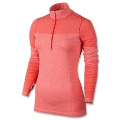 Nike Women's Dri-FIT Knit Long Sleeve Half Zip Running Shirt (Small)... ($59) ❤ liked on Polyvore featuring activewear, activewear tops, pink sportswear, long sleeve shirts, nike activewear, nike shirts and red long sleeve shirt