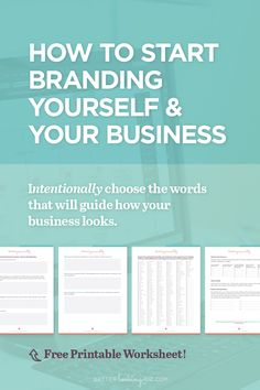 How to Start Branding Yourself and Your Business by Better Looking Biz. You know you need a brand and you aren't sure where to start? Or maybe you need to consolidate and refresh your existing brand? These branding tips + worksheet will help you create a solid foundation that you can use to guide everything you create. Download the brand personality worksheet. It's free!