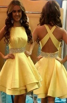 Elegant Jewel Above-knee Criss-Cross Straps Yellow Homecoming Dresses with Beads