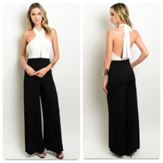 Coming Soon! Black and Ivory Halter Jumpsuit Coming soon! Striking black and ivory halter neck jumpsuit with an open back. This jumpsuit is a beautiful alternative to a little black dress. It is made of 95% polyester and 5% spandex. Watch for a price drop to $43. Pre-order and receive it for $35!! Boutique Pants Jumpsuits & Rompers