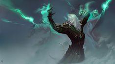 Necromancer by Yuchen Wang : armoredwomen High Fantasy, Dark Fantasy Art, Dnd Characters, Fantasy Characters, Fantasy Character Design, Character Art, Video X, Necromancer, Soul Art