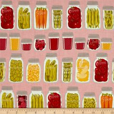 Riley Blake Farm Girl Mason Jars Pink from @fabricdotcom  Designed by October Afternoon for Riley Blake, this cotton print fabric is perfect for quilting, apparel and home decor accents. Colors include shades of pink, orange, green, red and white.