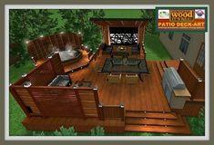 outdoor wooden patio model - Home & DIY Design Patio, Backyard Patio Designs, Backyard Landscaping, Patio Plus, Ensemble Patio, Wooden Patios, Hot Tub Backyard, Dom, Decks