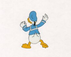DONALD DUCK Disney Epcot original production animation cell + draw COA 2*