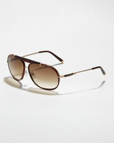 Leather Navigator Sunglasses, Havana by Dsquared2 at Bergdorf Goodman.
