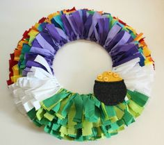St. Patrick's Day Wreath using fabric strips tied to a wire wreath form.