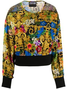 Multicoloured cotton blend baroque print long-sleeve top from VERSACE JEANS COUTURE featuring a baroque print, a round neck and long sleeves. Versace Jeans Couture, Couture Fashion, Baroque, Black Tops, Long Sleeve Tops, Women Wear, Blouses, Fashion Outfits, Shopping