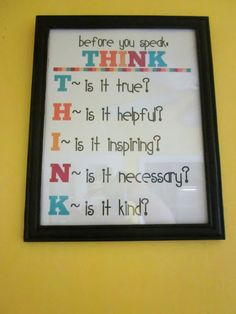 Little Reminders (Free Prints) Just talking to the kids about this today - more on the lines of would their words hurt anyone. Classroom Organization, Classroom Management, Classroom Decor, Classroom Rules, Classroom Posters, Behavior Management, Education Posters, Household Organization, School Posters
