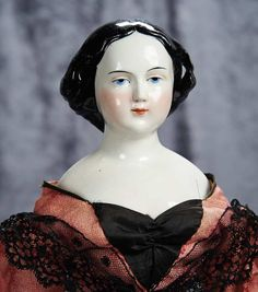 """22"""" (56 cm.) German Porcelain Lady Doll with Black Sculpted Hair and Original Body 500/800"""