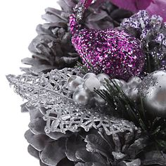 purple and silver decorative arrangement