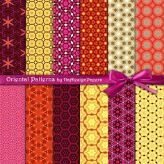 Oriental Patterns - Digital Collage Sheet - Digital Paper - Oriental Paper - Decoupage Paper - Scrapbook Paper - Floral Paper - Orient