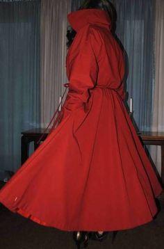 Phillip Handmacher 60-70s Long Red Circle Skirt Trench Swing Coat 12 Med Lined #PhilipHandmacherChicago #Trench