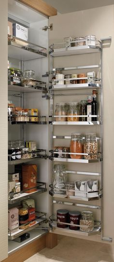 Pull Out Shelves An Best Option for Kitchen Pantry Storage. Pull Out Shelves An Best Option for Kitchen Pantry Storage. 35 Variety Of Appliances Storage Ideas for Your Kitchen Kitchen Cupboard Organization, Kitchen Pantry Cabinets, Diy Kitchen Storage, Modern Kitchen Cabinets, Kitchen Interior, Kitchen Decor, Organized Kitchen, Kitchen Modern, Cupboard Storage