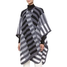 Escada Striped Woven Blanket Cape (€1.310) ❤ liked on Polyvore featuring outerwear, cape coat and escada