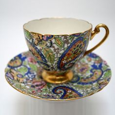 Shelley Fine China Tea Cup & Saucer, Paisley Chintz , Rare Gold, 14038, Ripon