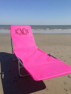 Monogrammed lounge chair.