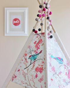 "AshleyGabby Designs on Instagram: ""I still  this fabric. I think I might have to reinstate this tent into my shop for spring  #waitingforspring #teepee #playtent #poshbaby #nursery #nurserydecor #nurseryroom #ashleygabbydesigns"""