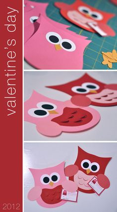 Homemade Valentines, Valentines For Kids, Valentine Day Crafts, Projects For Kids, Crafts For Kids, Valentines Day Bulletin Board, Kids Bulletin Boards, Owl Punch Cards, Owl Kids