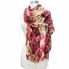 Red Roses Galore Elegant Pashmina Shawl Wrap Scarf With Fringe Luxury Divas. $19.99