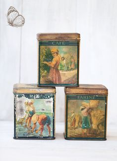 3 Antique French Kitchen Tins  Early 1900s  by ScrumptiousVenus
