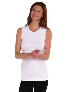 Tees by Tina Solid Sleeveless Crew Neck Top in White, OSFM