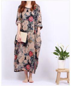 Oversize Tunic DressPlus Size Maxi DressLong Cotton by dressladies