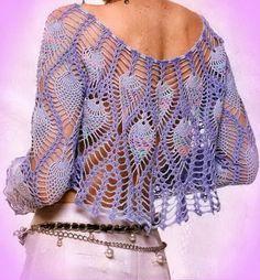 Pineapple Lace Bolero Crochet Pattern back