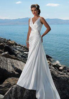Modern Sheath/Column Chiffon buttons court train Wedding Dress - Gopromdress.co.uk