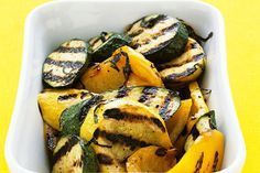 Making a garlicky mayo marinade is the only prep step needed before you get to grill this medley of grilled zucchini, squash and peppers.